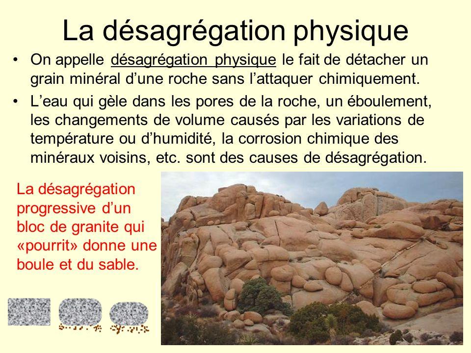 Désagrégation : par le gel en montagne (a), par la corrosion chimique de certains minéraux (b), par labrasion de leau chargée de sable et de gravier (c).