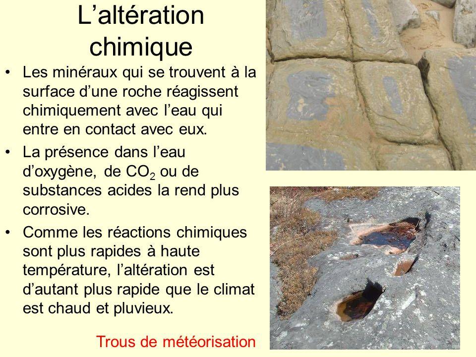 Laltération des silicates Comme les silicates saltèrent dans cet ordre : Quartz Muscovite Feldspath K Plagioclase Na Biotite Amphiboles Pyroxènes Plagioclases Ca Olivine le granite résiste mieux que le basalte ; le quartz, à peu près inaltérable, est le principal constituant des grains de sable.