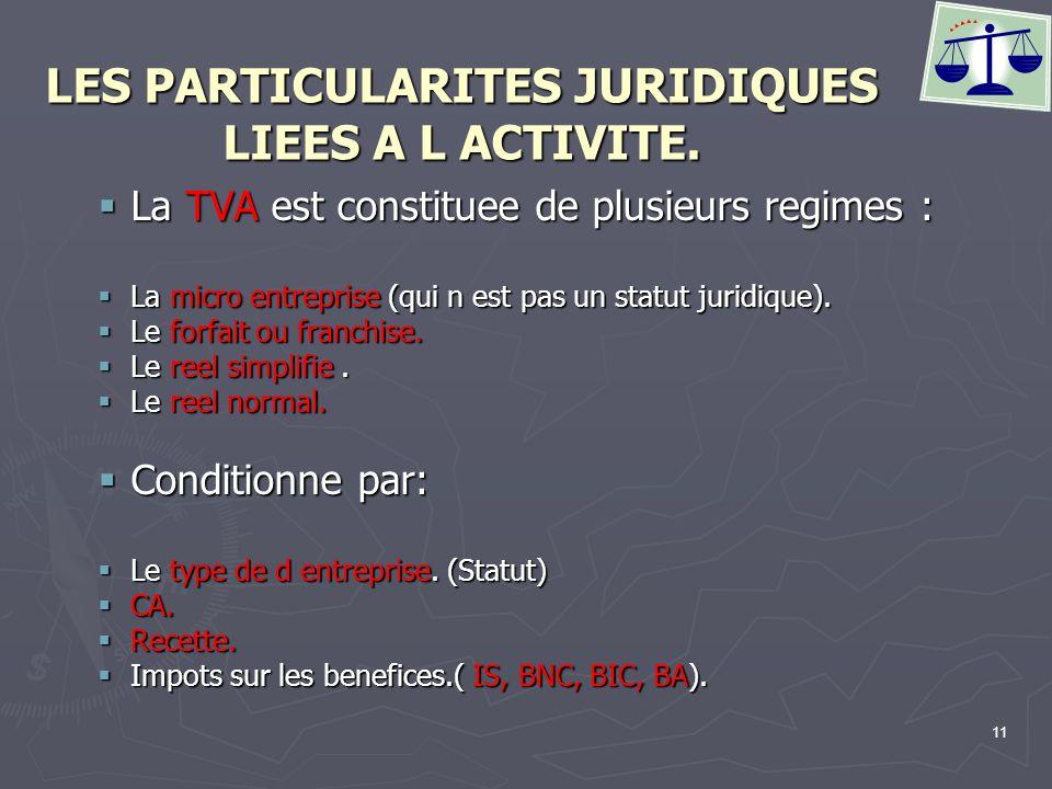 11 LES PARTICULARITES JURIDIQUES LIEES A L ACTIVITE. La TVA est constituee de plusieurs regimes : La TVA est constituee de plusieurs regimes : La micr