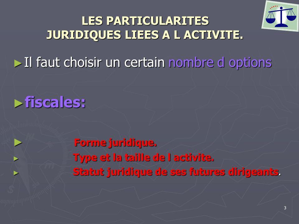 4 LES PARTICULARITES JURIDIQUES LIEES A L ACTIVITE.
