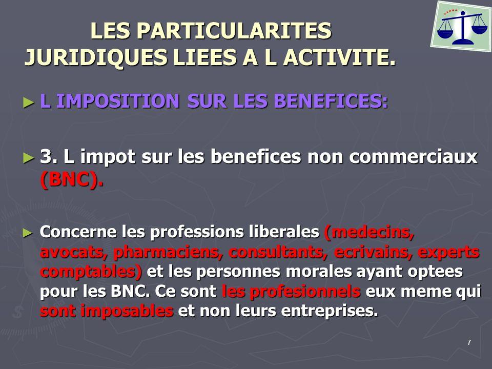 7 LES PARTICULARITES JURIDIQUES LIEES A L ACTIVITE. L IMPOSITION SUR LES BENEFICES: L IMPOSITION SUR LES BENEFICES: 3. L impot sur les benefices non c
