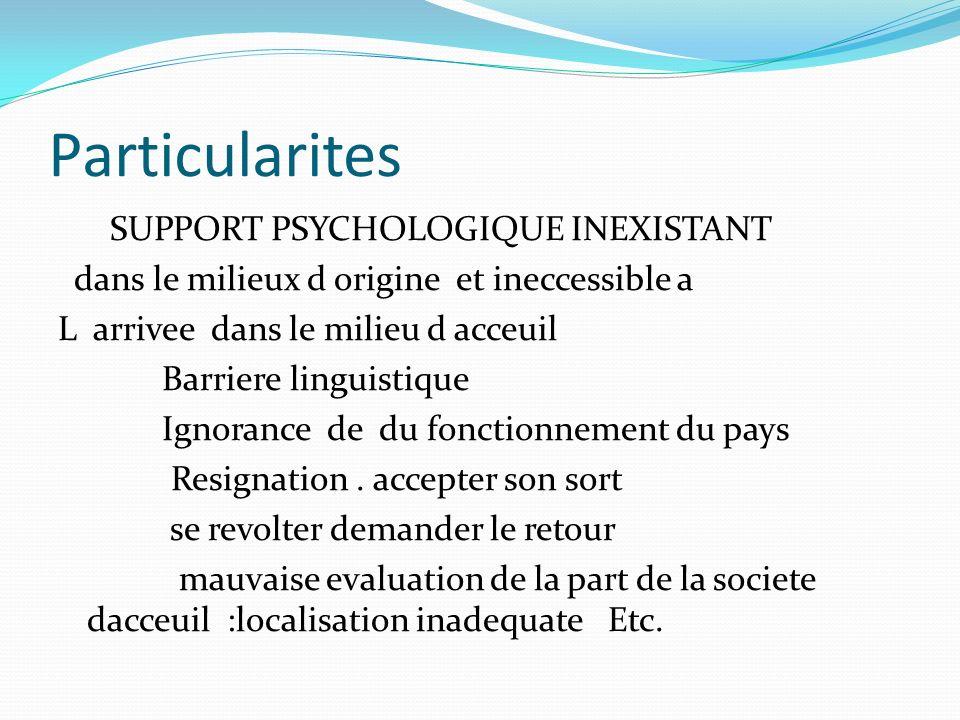 Particularites SUPPORT PSYCHOLOGIQUE INEXISTANT dans le milieux d origine et ineccessible a L arrivee dans le milieu d acceuil Barriere linguistique I