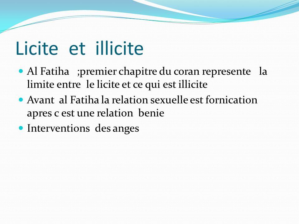 Licite et illicite Al Fatiha ;premier chapitre du coran represente la limite entre le licite et ce qui est illicite Avant al Fatiha la relation sexuel