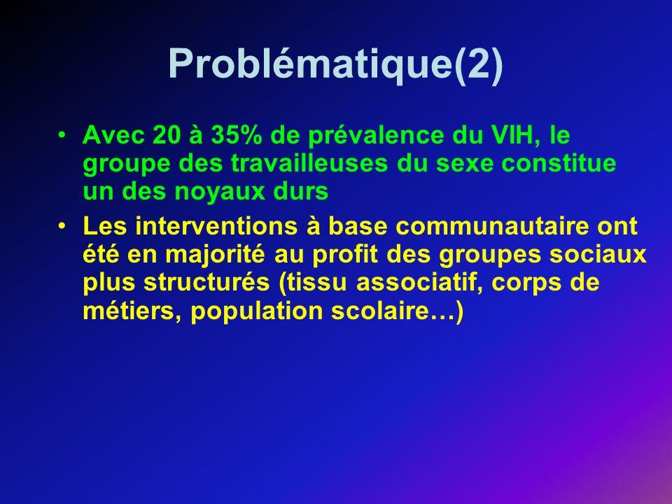 Problématique(2) Avec 20 à 35% de prévalence du VIH, le groupe des travailleuses du sexe constitue un des noyaux durs Les interventions à base communautaire ont été en majorité au profit des groupes sociaux plus structurés (tissu associatif, corps de métiers, population scolaire…)