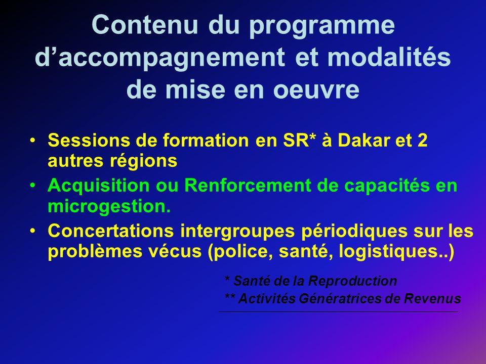 Contenu du programme daccompagnement et modalités de mise en oeuvre Sessions de formation en SR* à Dakar et 2 autres régions Acquisition ou Renforcement de capacités en microgestion.
