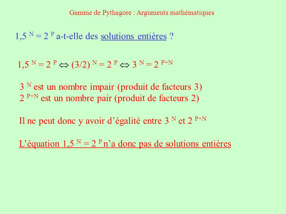 Solutions approchées de 1,5 N = 2 P Empiriquement, on peut constater en examinant les puissances successives de 1,5 et 2 que les meilleures approximations sont: 1,5 5 7,59 et 2 3 = 8 Cela donne la gamme pentatonique Erreur 0,41 / 8 5% 1,5 12 129,7 et 2 7 = 128 Cela donne la gamme de Pythagore Erreur 1,7 / 128 1,3% 1,5 41 16585998,5 et 2 24 = 16777216 Cela donne une gamme de 41 notes Erreur 1,1% Gamme de Pythagore : Arguments mathématiques