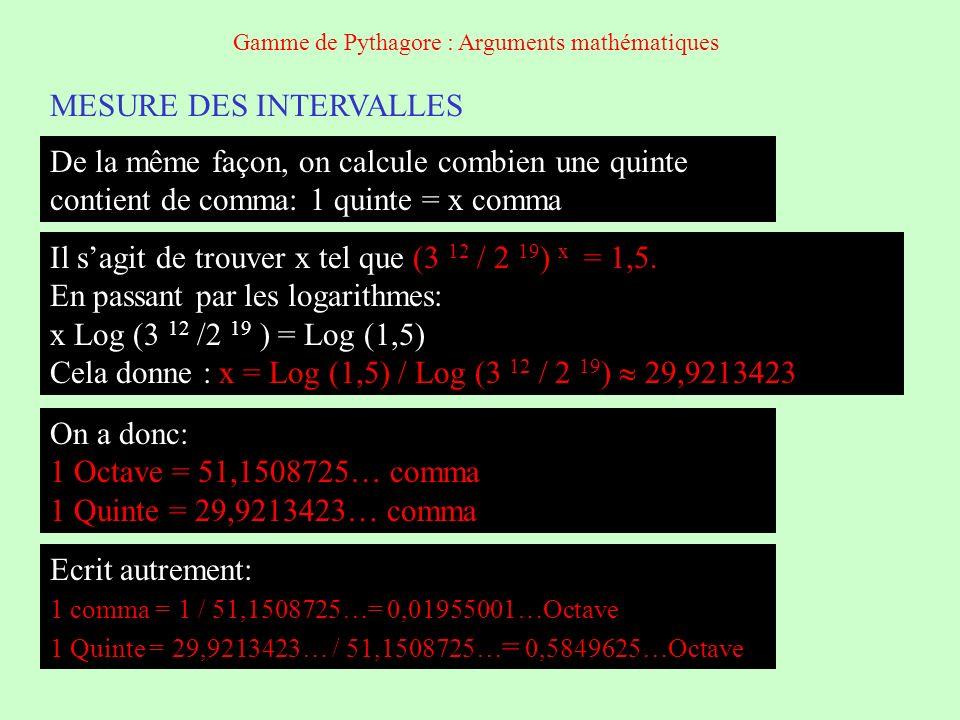 MESURE DES INTERVALLES EN DEGRE Sur la gamme circulaire, 1 octave mesure 360° 1 quinte mesure 0,5849625 octave soit en degré 360 x 0,5849625 210,5865: 1 quinte 210,5865° 1 comma mesure 0,019550001 octave soit en degré 360 x 0,019550001 210,5865: 1 comma 7,03800312° De la même façon, on mesure les autres intervalles: Gamme de Pythagore : Arguments mathématiques