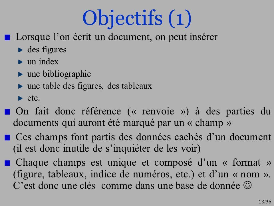 19/56 Objectifs (2) Lobjectif est donc simple : pouvoir faire référence dans le texte à ces clés.