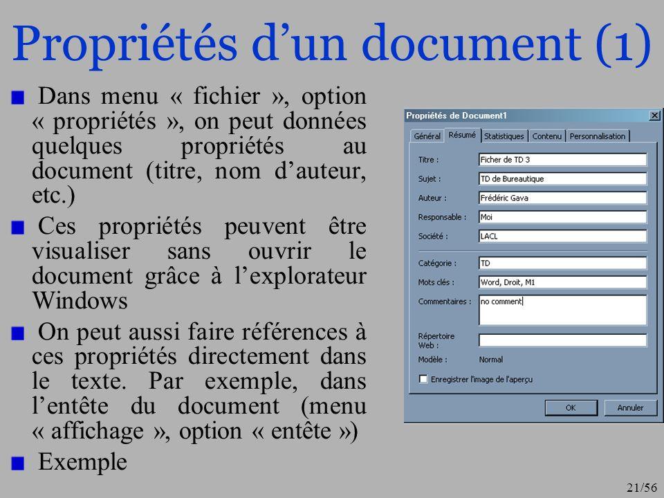 22/56 Propriétés dun document (2)