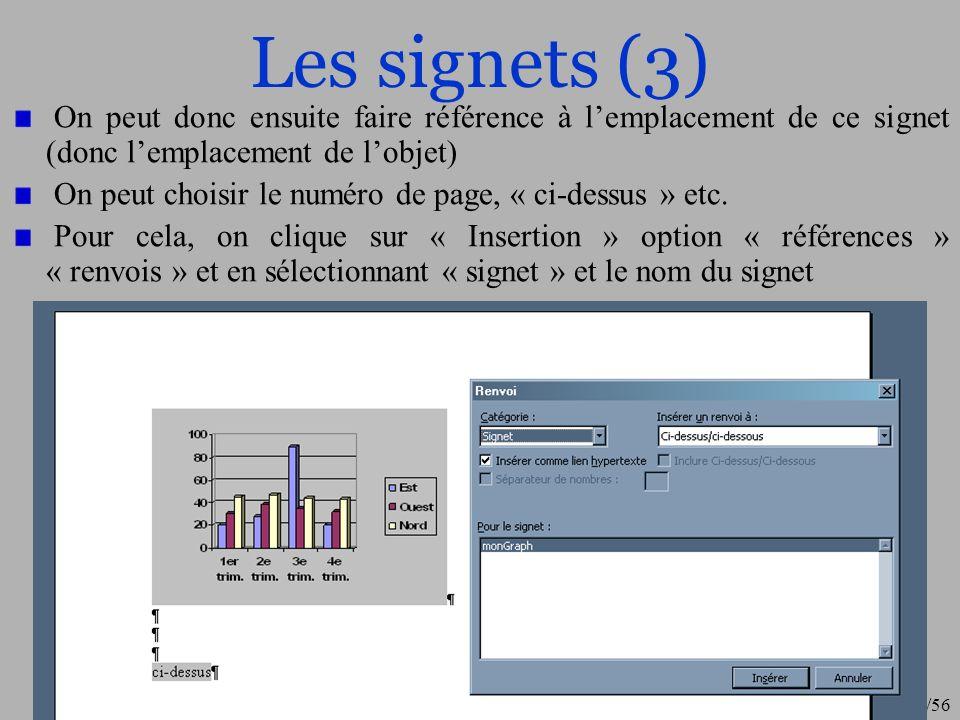 27/56 Légendes et table des figures (1) Avec le même principe que les signets, il est possible dassocier des légendes à des figures.