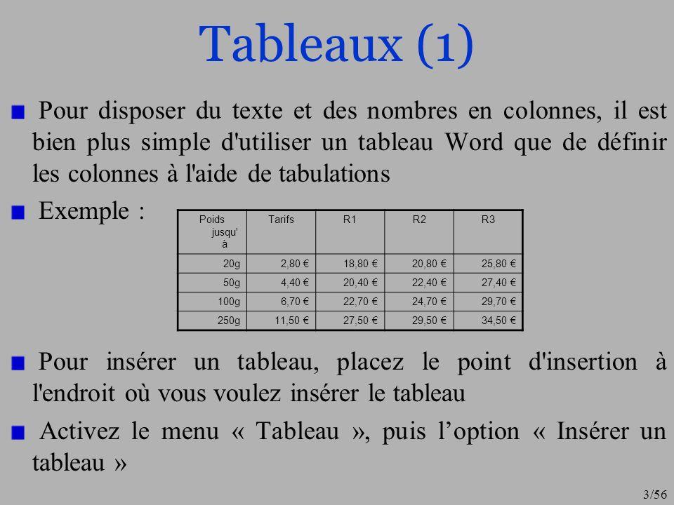 4/56 Tableaux (2) Nombre de colonnes Nombre de lignes Word insère un tableau vide dans votre document.