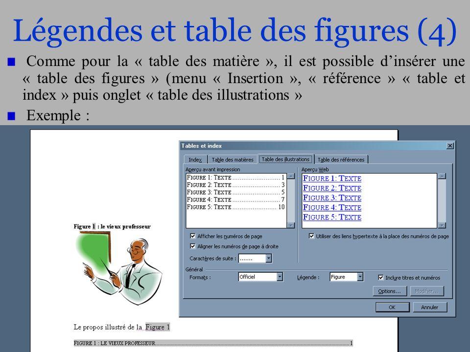 30/56 Légendes et table des figures (4) Comme pour la « table des matière », il est possible dinsérer une « table des figures » (menu « Insertion », «