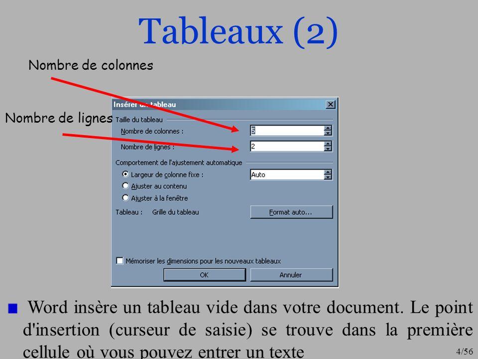 5/56 Tableaux (3) Lorsque vous entrez le texte dans un tableau, le passage à la ligne suivante se fait automatiquement à l intérieur de chaque cellule.