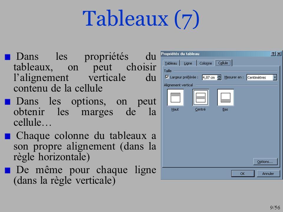 10/56 Bordures (1) Pour un paragraphe, pour un tableau ou dans la « mise en page », il est possible dajouter une « bordure » Menu « Format », option « bordure et trames » ou clique droit sur un objet, ou dans la mise en page (pour toute la page) Menu « Affichage », option « barre doutils », « tableaux » La bordure permet dencadre un objet On peut modifier la taille des traits, leurs nombres, leurs placement etc.
