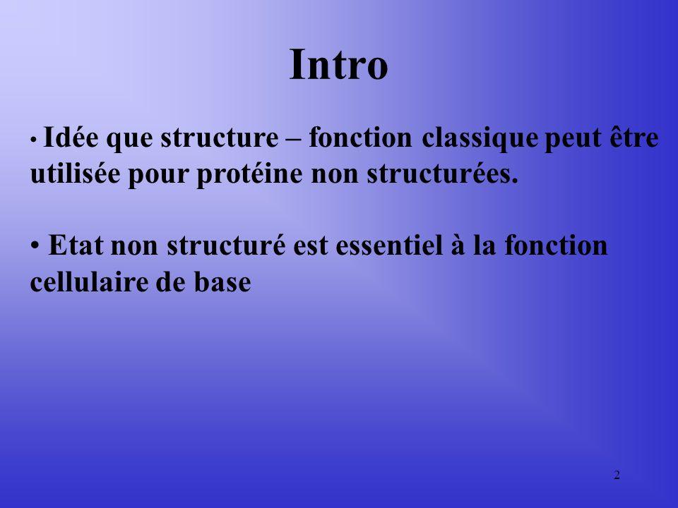 2 Idée que structure – fonction classique peut être utilisée pour protéine non structurées.