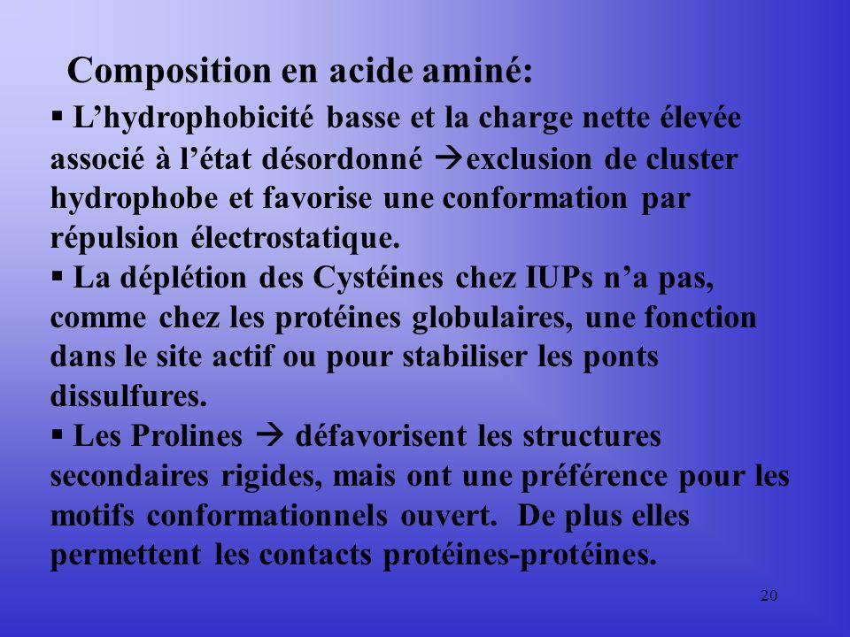 19 Dans ce tableau on voit: 1)Que les IUPs sont enrichies en P,E,K,S et Q 2)Quelles sont déplétées en W,Y,F,C,I,L et N en comparaison avec les protéin