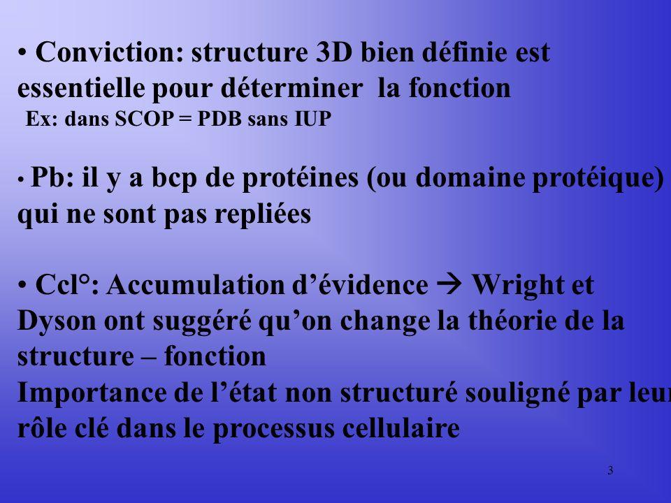 3 Conviction: structure 3D bien définie est essentielle pour déterminer la fonction Ex: dans SCOP = PDB sans IUP Pb: il y a bcp de protéines (ou domaine protéique) qui ne sont pas repliées Ccl°: Accumulation dévidence Wright et Dyson ont suggéré quon change la théorie de la structure – fonction Importance de létat non structuré souligné par leur rôle clé dans le processus cellulaire