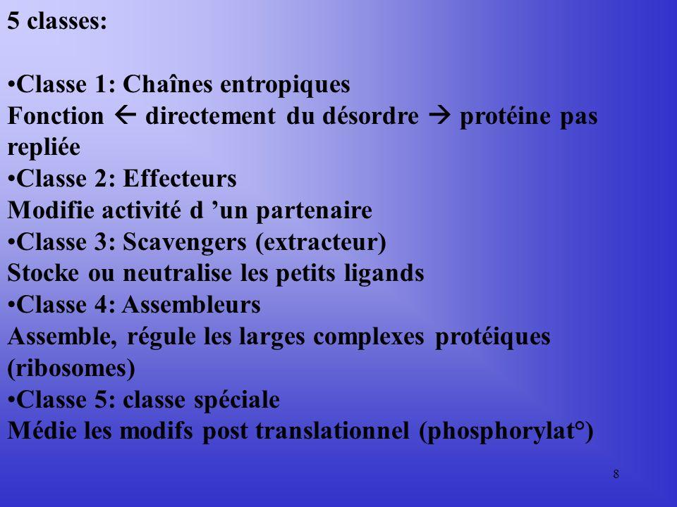 8 5 classes: Classe 1: Chaînes entropiques Fonction directement du désordre protéine pas repliée Classe 2: Effecteurs Modifie activité d un partenaire Classe 3: Scavengers (extracteur) Stocke ou neutralise les petits ligands Classe 4: Assembleurs Assemble, régule les larges complexes protéiques (ribosomes) Classe 5: classe spéciale Médie les modifs post translationnel (phosphorylat°)