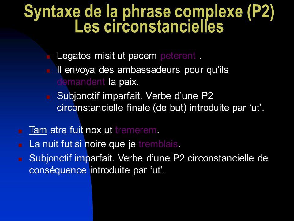 Syntaxe de la phrase complexe (P2) Les circonstancielles Legatos misit ut pacem peterent. Il envoya des ambassadeurs pour quils demandent la paix. Sub