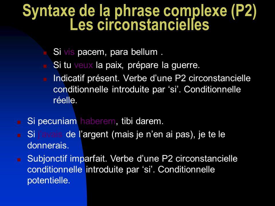 Syntaxe de la phrase complexe (P2) Les circonstancielles Si vis pacem, para bellum. Si tu veux la paix, prépare la guerre. Indicatif présent. Verbe du