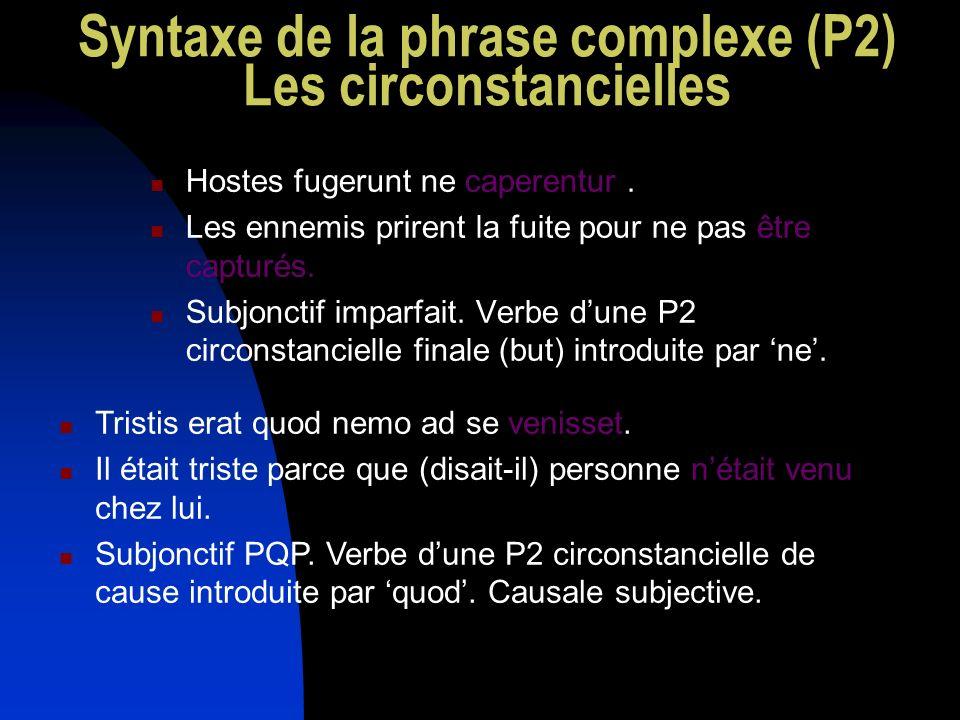 Syntaxe de la phrase complexe (P2) Les circonstancielles Hostes fugerunt ne caperentur. Les ennemis prirent la fuite pour ne pas être capturés. Subjon