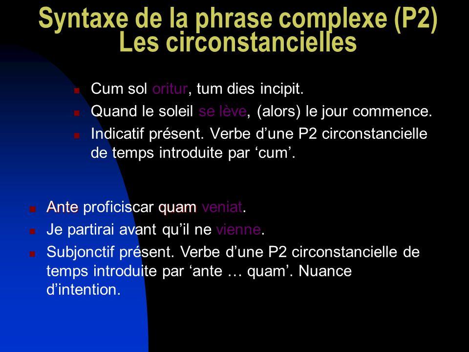 Syntaxe de la phrase complexe (P2) Les circonstancielles Cum sol oritur, tum dies incipit. Quand le soleil se lève, (alors) le jour commence. Indicati