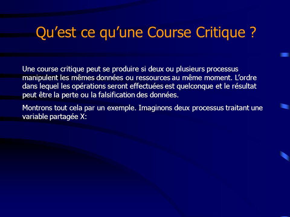 Quest ce quune Course Critique ? Une course critique peut se produire si deux ou plusieurs processus manipulent les mêmes données ou ressources au mêm