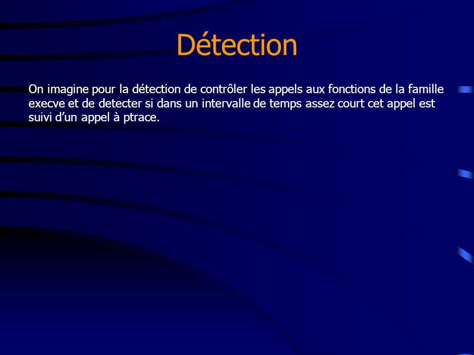 Détection On imagine pour la détection de contrôler les appels aux fonctions de la famille execve et de detecter si dans un intervalle de temps assez