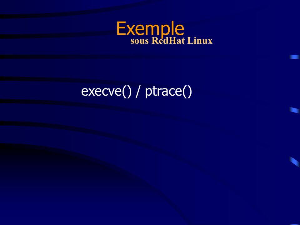 Exemple execve() sous RedHat Linux execve() est une fonction qui permet de transformer un processus en un autre.
