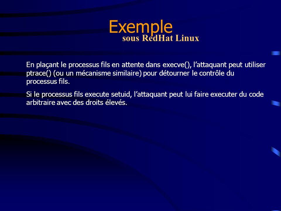 Exemple sous RedHat Linux En plaçant le processus fils en attente dans execve(), lattaquant peut utiliser ptrace() (ou un mécanisme similaire) pour dé