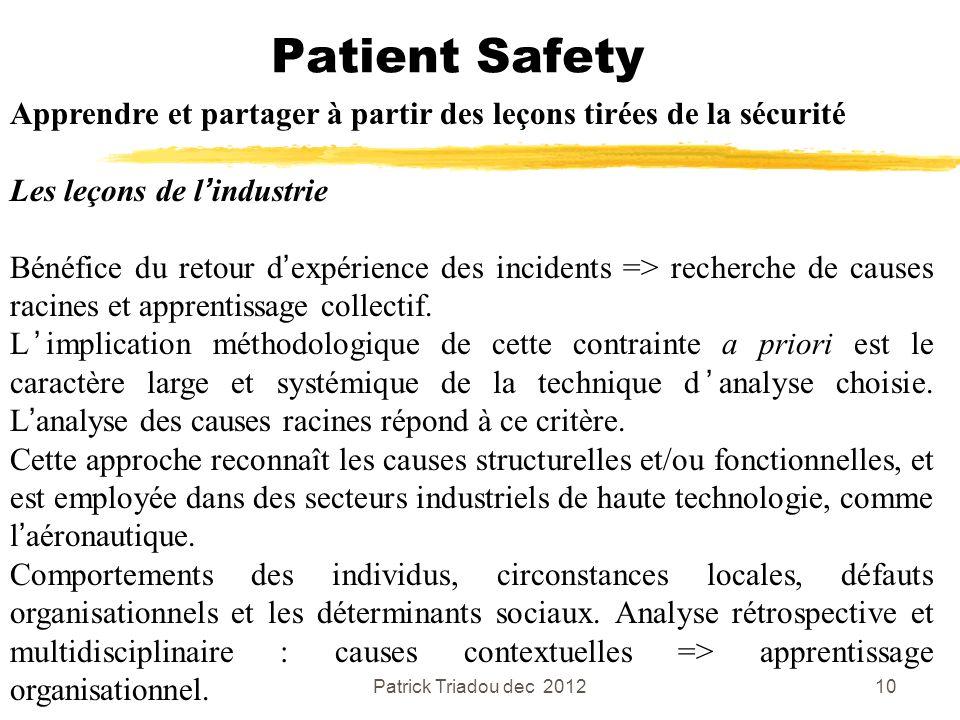 Patrick Triadou dec 201210 Patient Safety Apprendre et partager à partir des leçons tirées de la sécurité Les leçons de lindustrie Bénéfice du retour