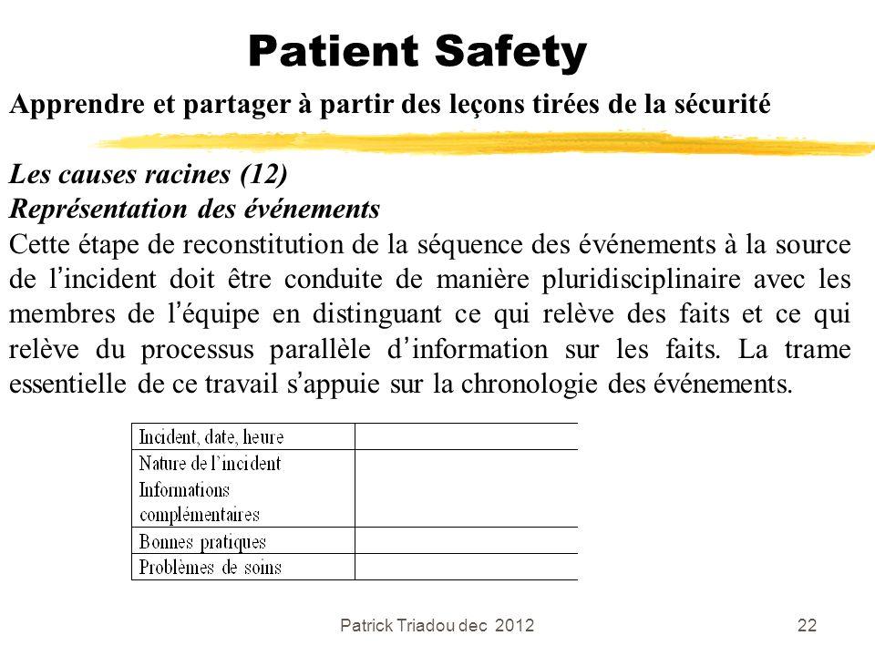 Patrick Triadou dec 201222 Patient Safety Apprendre et partager à partir des leçons tirées de la sécurité Les causes racines (12) Représentation des é