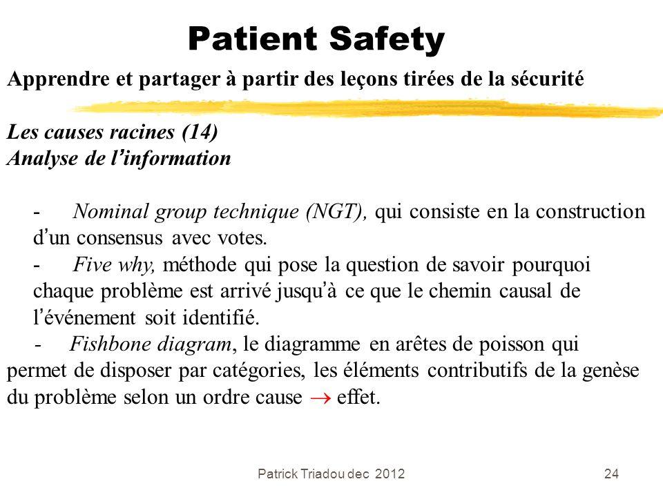Patrick Triadou dec 201224 Patient Safety Apprendre et partager à partir des leçons tirées de la sécurité Les causes racines (14) Analyse de linformat