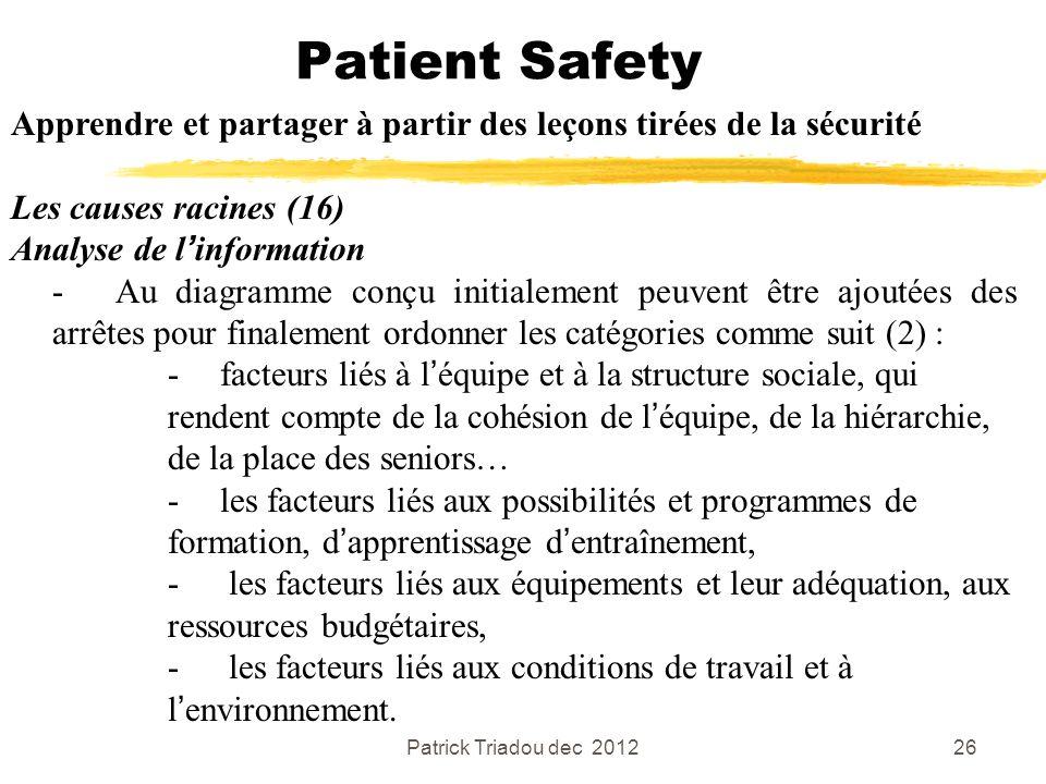 Patrick Triadou dec 201226 Patient Safety Apprendre et partager à partir des leçons tirées de la sécurité Les causes racines (16) Analyse de linformat