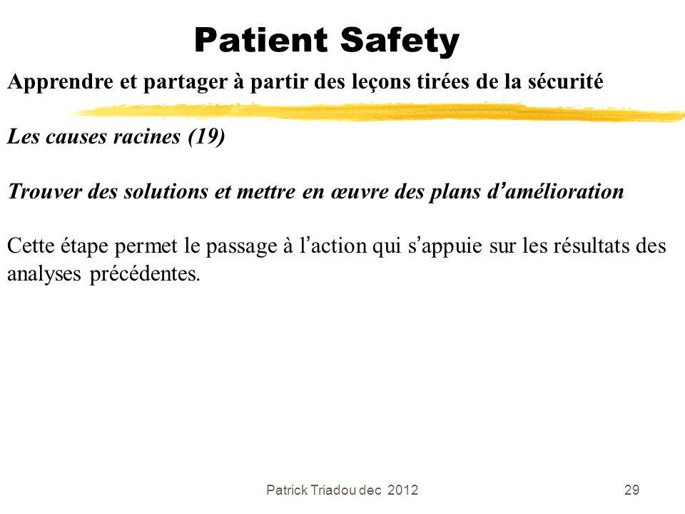Patrick Triadou dec 201229 Patient Safety Apprendre et partager à partir des leçons tirées de la sécurité Les causes racines (19) Trouver des solution