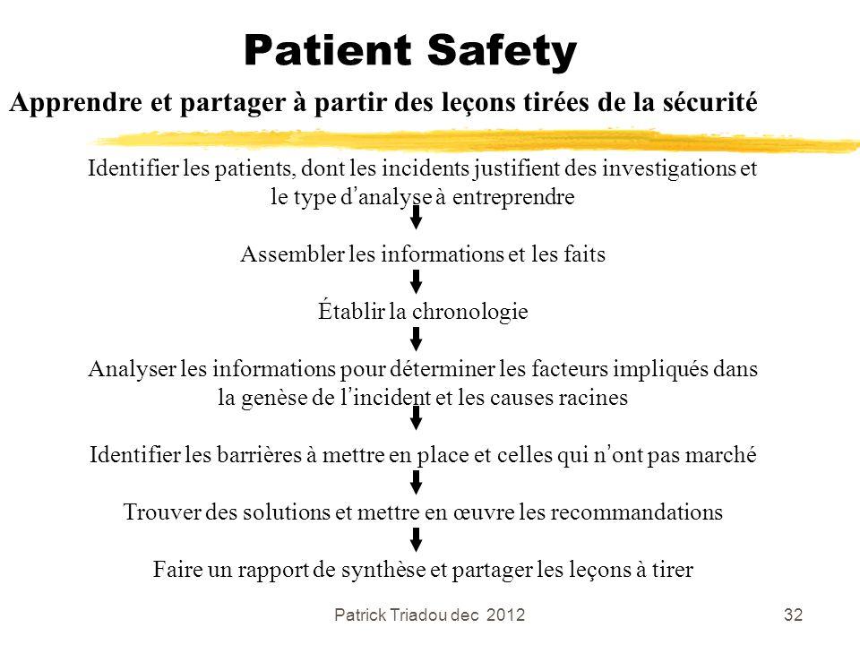 Patrick Triadou dec 201232 Patient Safety Apprendre et partager à partir des leçons tirées de la sécurité Identifier les patients, dont les incidents