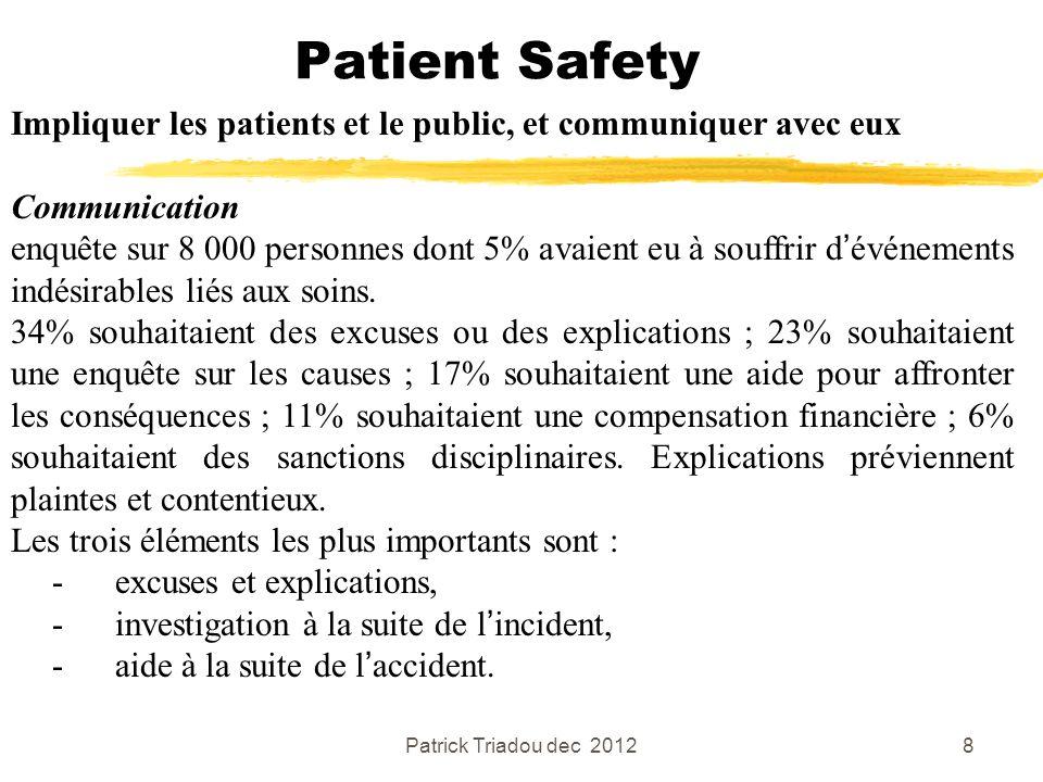 Patrick Triadou dec 20128 Patient Safety Impliquer les patients et le public, et communiquer avec eux Communication enquête sur 8 000 personnes dont 5