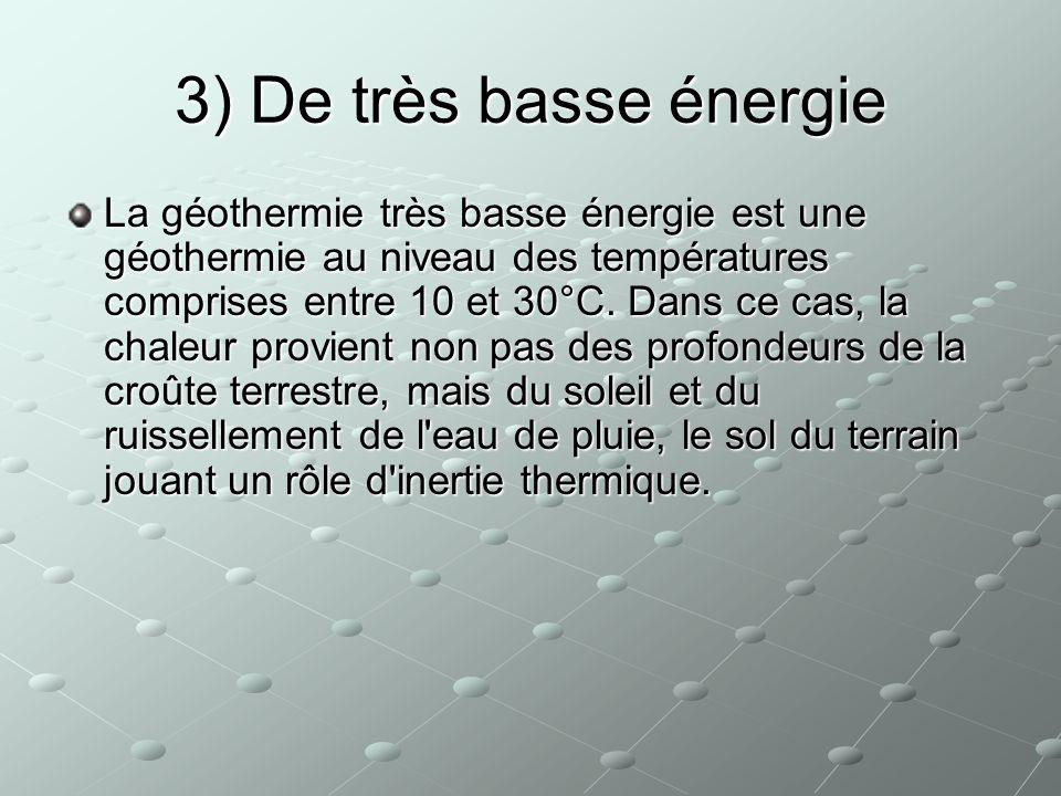 3) De très basse énergie La géothermie très basse énergie est une géothermie au niveau des températures comprises entre 10 et 30°C. Dans ce cas, la ch