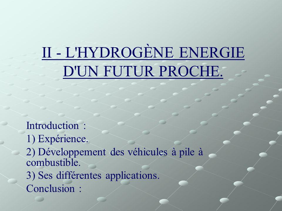 II - L'HYDROGÈNE ENERGIE D'UN FUTUR PROCHE. Introduction : 1) Expérience. 2) Développement des véhicules à pile à combustible. 3) Ses différentes appl