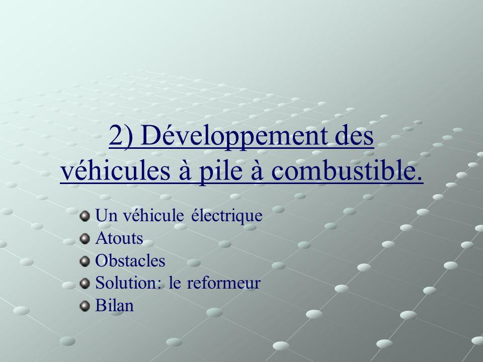 2) Développement des véhicules à pile à combustible. Un véhicule électrique Atouts Obstacles Solution: le reformeur Bilan