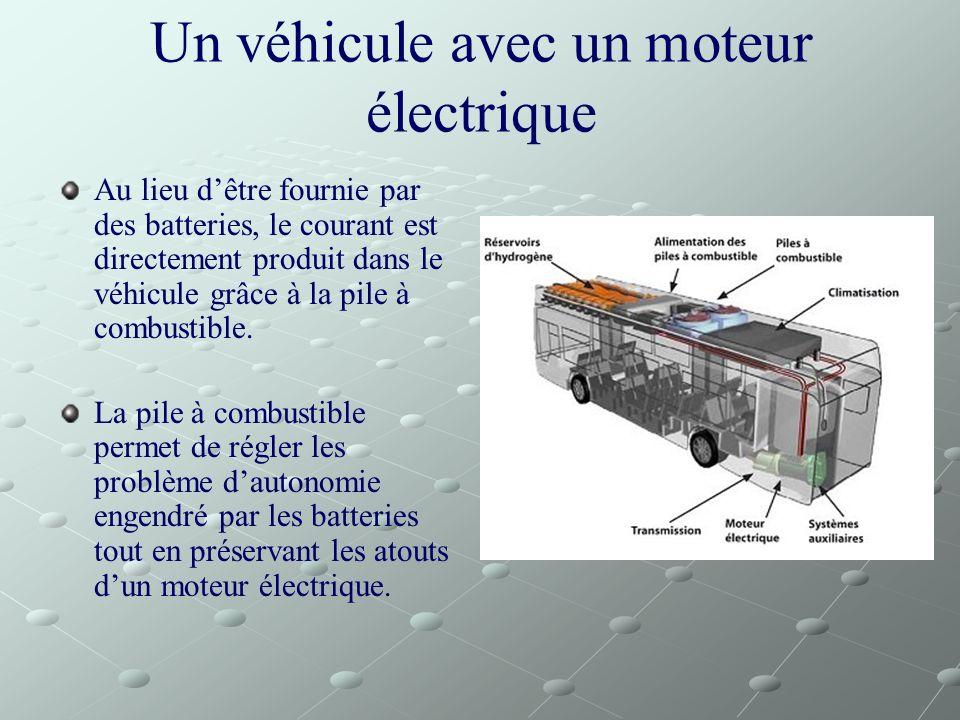 Un véhicule avec un moteur électrique Au lieu dêtre fournie par des batteries, le courant est directement produit dans le véhicule grâce à la pile à c