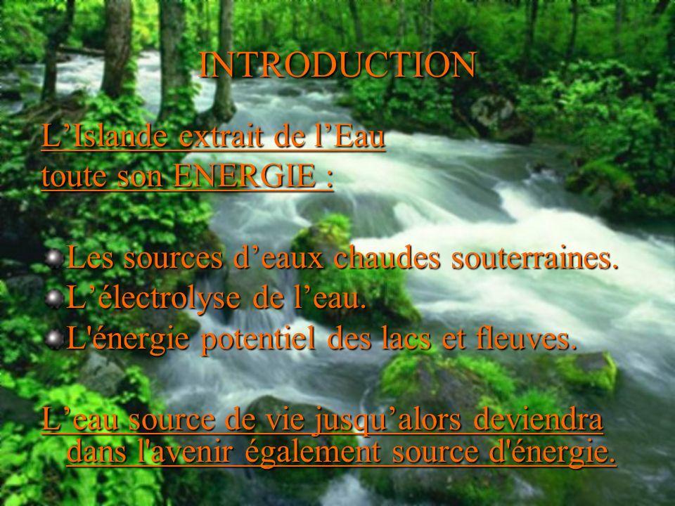 INTRODUCTION LIslande extrait de lEau toute son ENERGIE : Les sources deaux chaudes souterraines. Lélectrolyse de leau. L'énergie potentiel des lacs e