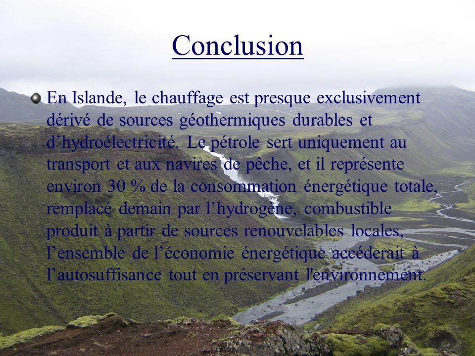 Conclusion En Islande, le chauffage est presque exclusivement dérivé de sources géothermiques durables et dhydroélectricité. Le pétrole sert uniquemen
