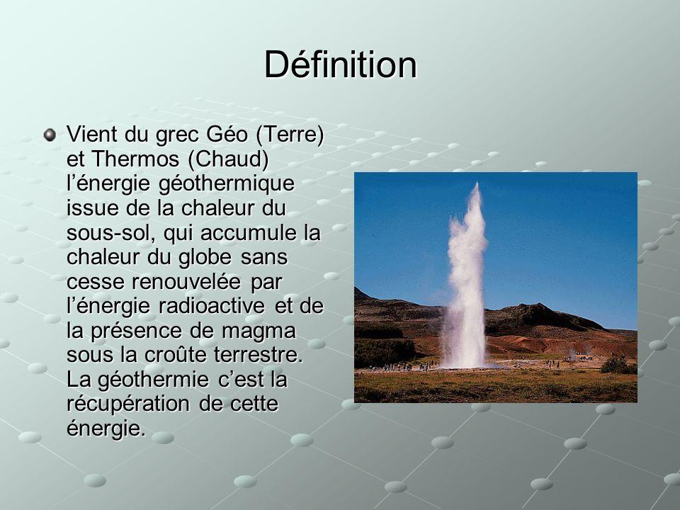 Définition Vient du grec Géo (Terre) et Thermos (Chaud) lénergie géothermique issue de la chaleur du sous-sol, qui accumule la chaleur du globe sans c