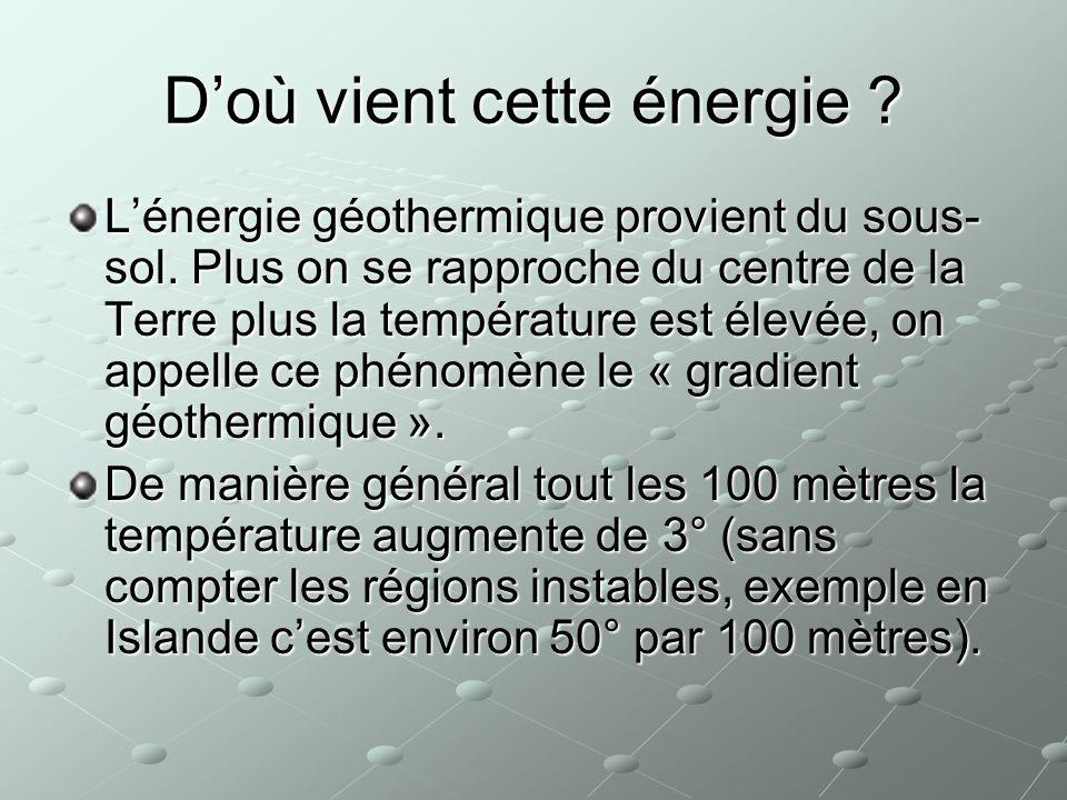 Doù vient cette énergie ? Lénergie géothermique provient du sous- sol. Plus on se rapproche du centre de la Terre plus la température est élevée, on a