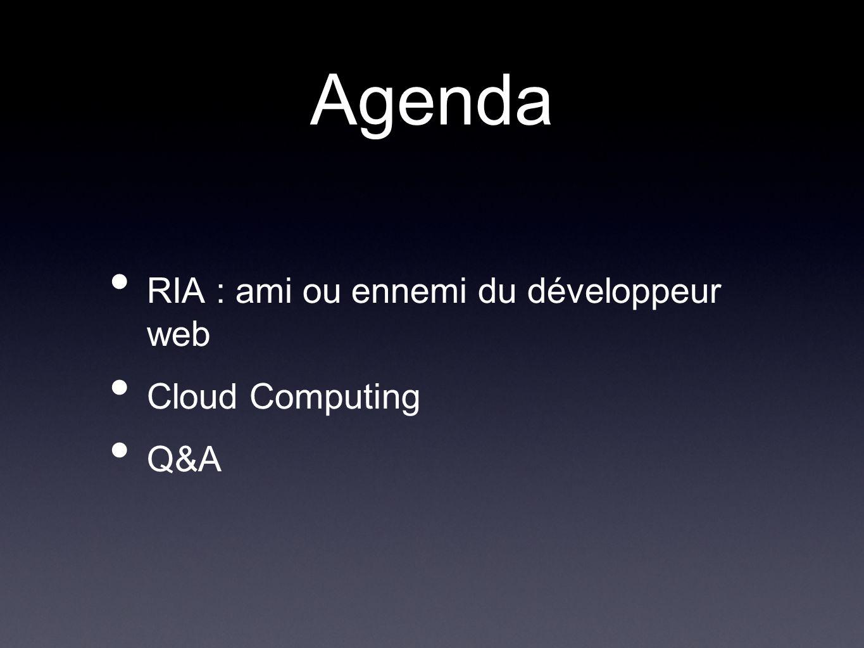 RIA : les enjeux le multi terminaux et multi plate forme gestion du mode connecté et déconnecté génération dapplication web dans le navigateur mais aussi sur le desktop comme Flex et AIR
