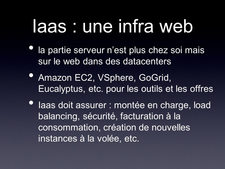 Iaas : une infra web la partie serveur nest plus chez soi mais sur le web dans des datacenters Amazon EC2, VSphere, GoGrid, Eucalyptus, etc.