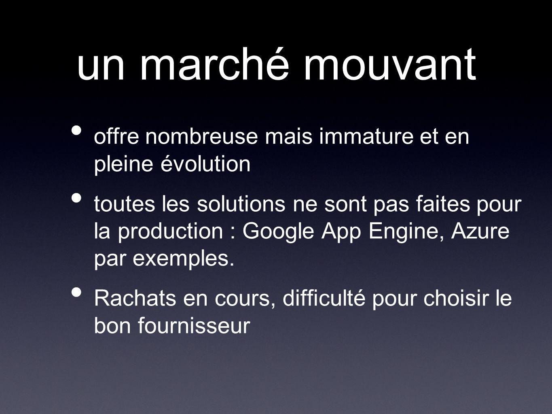 un marché mouvant offre nombreuse mais immature et en pleine évolution toutes les solutions ne sont pas faites pour la production : Google App Engine, Azure par exemples.