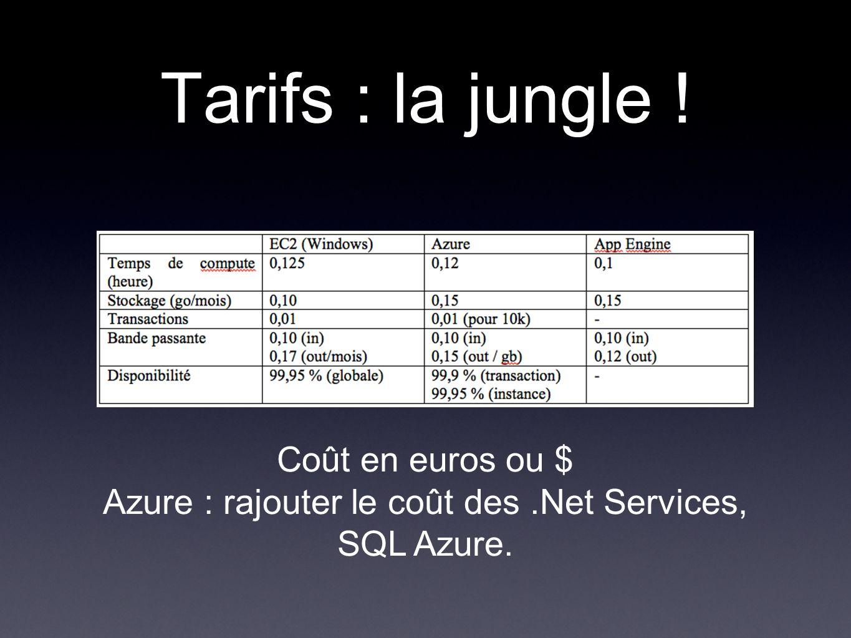 Tarifs : la jungle ! Coût en euros ou $ Azure : rajouter le coût des.Net Services, SQL Azure.