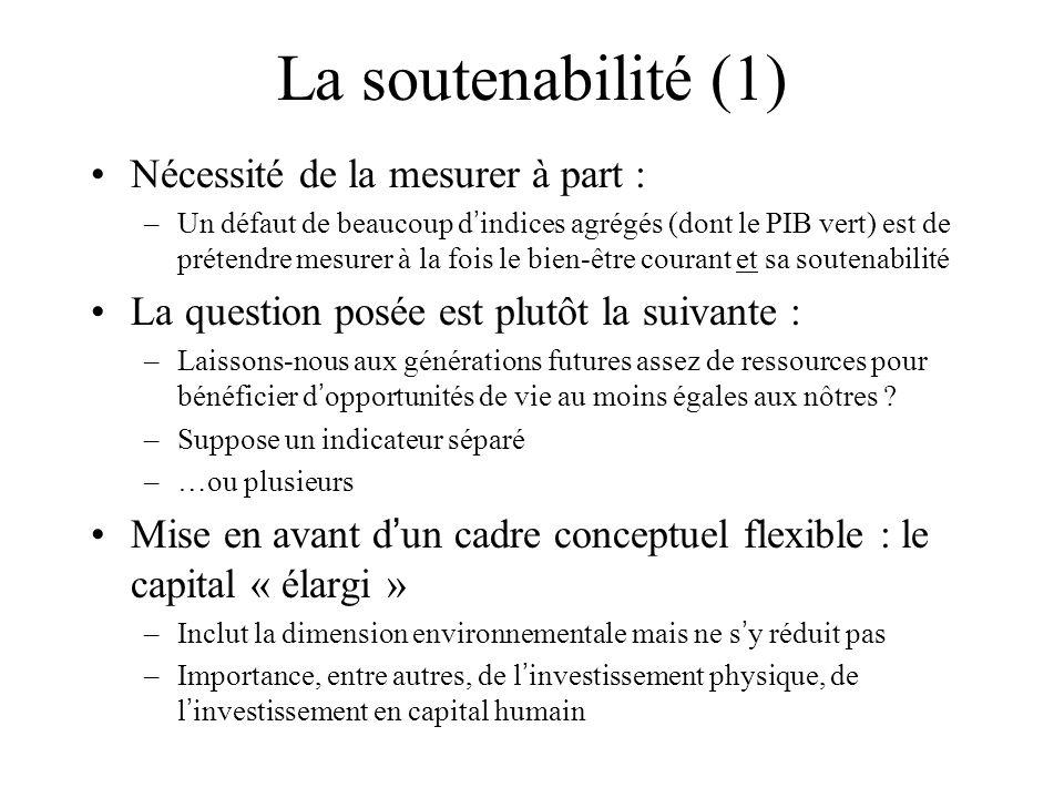 La soutenabilité (1) Nécessité de la mesurer à part : –Un défaut de beaucoup d indices agrégés (dont le PIB vert) est de prétendre mesurer à la fois l